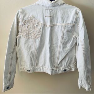 White Embroidered Jean Jacket